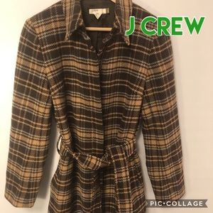 J Crew Wool Blend Plaid Coat Belted